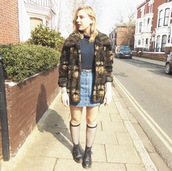 the velvet black,grunge,blogger,socks,denim skirt,fuzzy coat,DrMartens