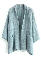 cardigan,cozy waffle knit cardigan in blue,blue,chicwish