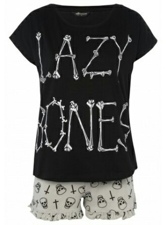 pajamas black white goth emo bones halloween