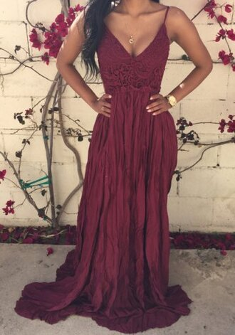 dress maxi dress burgundy lace summer fashion style sexy spring romantic red long dress straps prom outfit