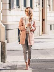 deninamartin,blogger,coat,top,pants,bag,belt,fall outfits,loafers,pink jacket
