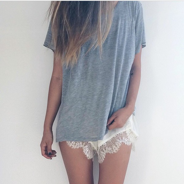 shorts lace shorts comfy loose blouse