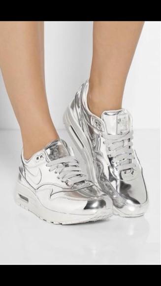 shoes metallic silver air max