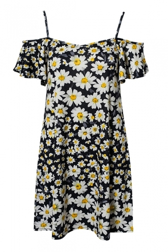 dress daisy cute flowers floral off the shoulder off the shoulder dress