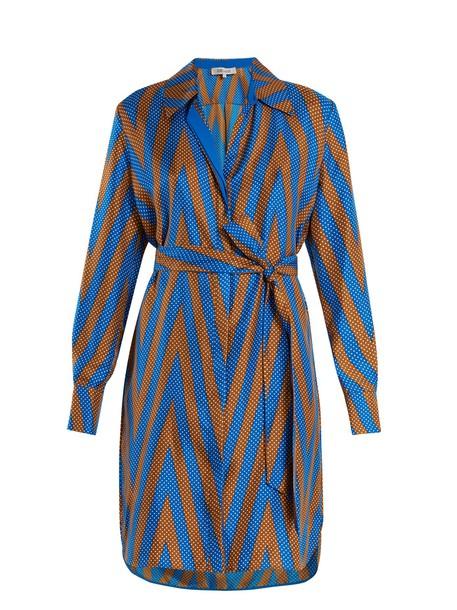 Diane Von Furstenberg shirtdress print silk satin chevron brown dress