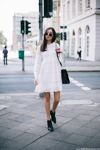 shoes white lace dress blak purse black ankle boots blogger round sunglasses