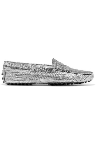 TOD'S metallic loafers silver leather shoes