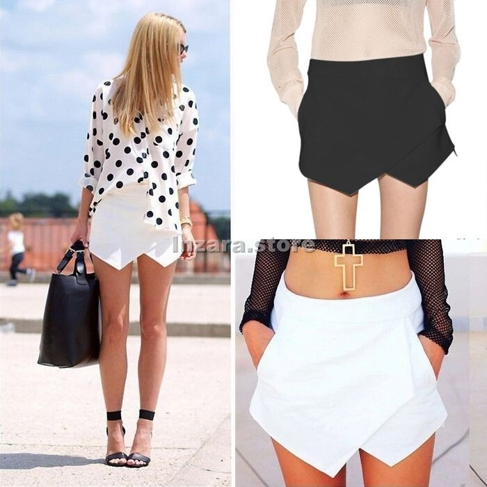 Women Fashion Asymmetrical Career Tiered Culottes Skorts Shorts Wrap Mini Skirts