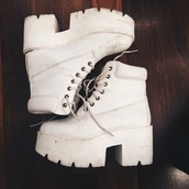 shoes,white,platform lace up boots,chunky sole
