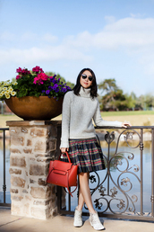 fit fab fun mom,blogger,sweater,skirt,shoes,bag,sunglasses,jewels,grey sweater,turtleneck sweater,red bag,handbag,ankle boots,grey turtleneck sweater