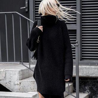 dress tumblr turtleneck dress turtleneck sweater dress black dress winter outfits winter dress bag black bag winter look