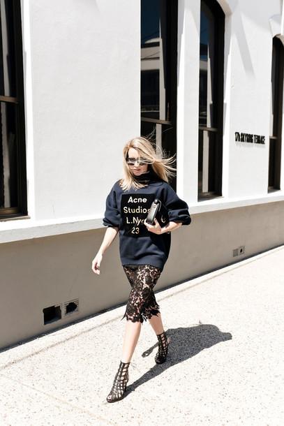 oracle fox blogger sweater sunglasses black heels lace skirt acne studios grey sweater