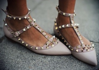 shoes pink bright beige shoes beige flat sandals flats flatshoes spikes spiked shoes