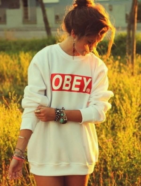 sweater clothes winter sweater oversized sweater cute sweaters white obey obey obey sweatshirt sweat obey winter sweater winter outfits cute jewels bracelets