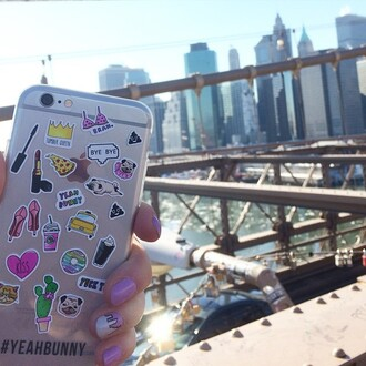 phone cover yeah bunny new york city iphone transparent transparent case stickers tumblr