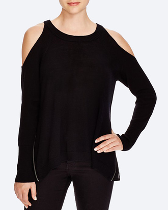 sweater black sweater cut-out shoulder top
