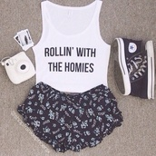 tank top,shorts,summer shorts,converse,summer,flowered shorts,shoes,sneakers,cute,edgy,shirt,swag,white,white crop tops,letterd,homies,rollin' with the homies,tumblr top,t-shirt,tumblr,bow,pants,crop tank,graphic crop tops,crop tops,graphic tank top