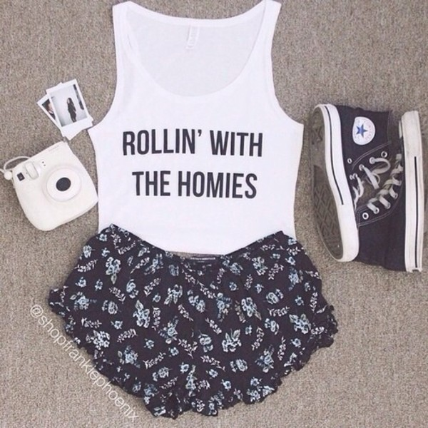 tank top shorts summer shorts converse summer flowered shorts shoes sneakers cute edgy shirt swag white white crop tops letterd homies rollin' with the homies tumblr top t-shirt tumblr bow pants crop tank graphic crop tops crop tops graphic tank top