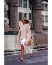 sweater,oversized,jumper,slide shoes,white skirt,bag
