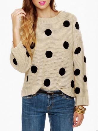 sweater polka dots beige wool