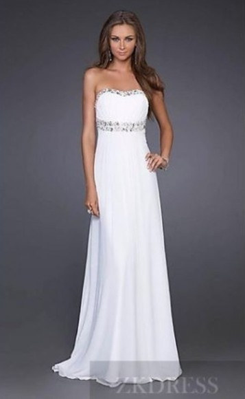 dress white dress long prom dresses sparkle dress no sleves sleveless and floor length