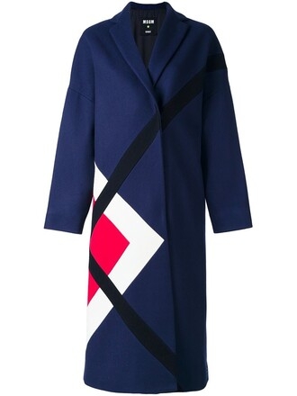 coat women geometric blue wool pattern