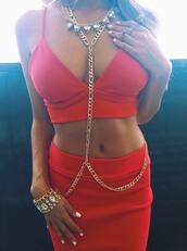 top,crop tops,red,skirt,jewelry