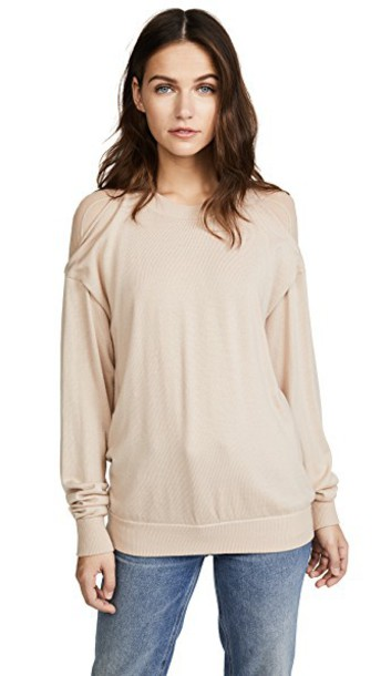 Alexander Wang pullover back sheer champagne sweater