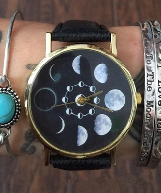 jewels moon cool trendy black watch fashion beautifulhalo