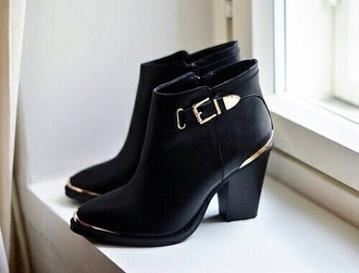 shoes black heels gold boots anckle boots