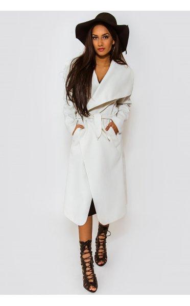 Khloe white waterfall coat