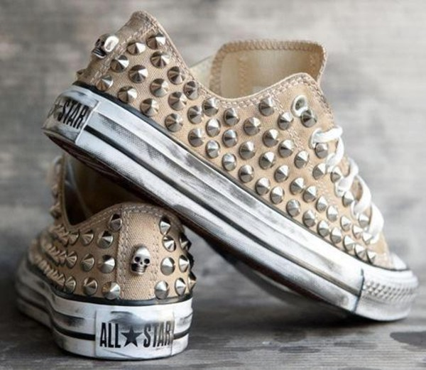shoes studs converse chuck taylor all stars beige shoes studded converses