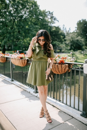 dress green dress tumblr asymmetrical mini dress summer dress sandals sandal heels bag sunglasses shoes