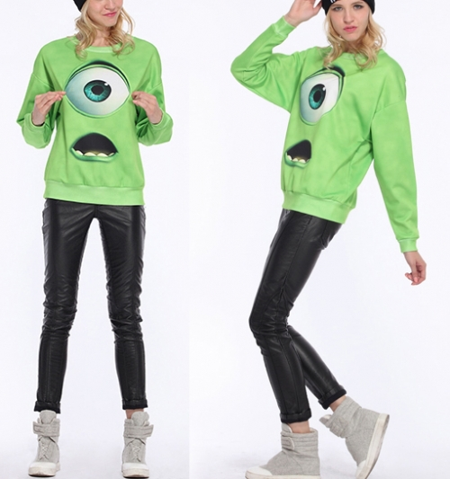 Autumn New Hot Top Designer Fashion Women Hot Sale Casual Green Monsters University Print Loose Sweatshirt-in Hoodies & Sweatshirts from Apparel & Accessories on Aliexpress.com