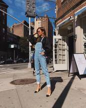 jeans,denim,denim overalls,pumps,mid heel pumps,black blouse,puffed sleeves,earrings,sunglasses