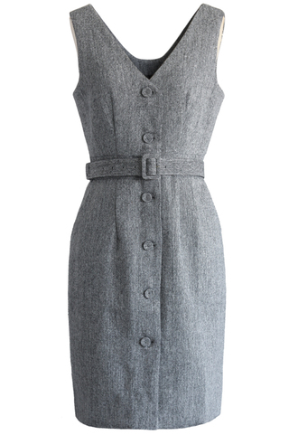 dress classic grey button up belted dress chicwish