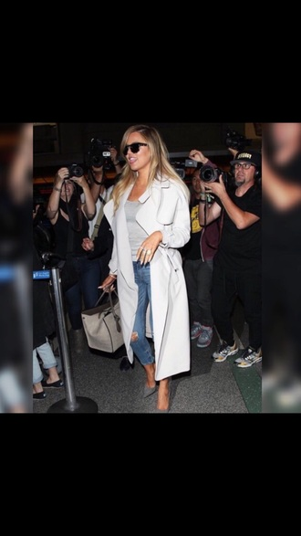 coat kardashians khloe kardashian trench coat white populare hot
