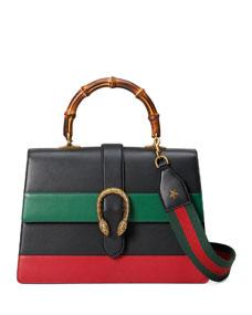 9ad338c304ed Dionysus Striped Bamboo Top-Handle Bag, Black/Green/Red
