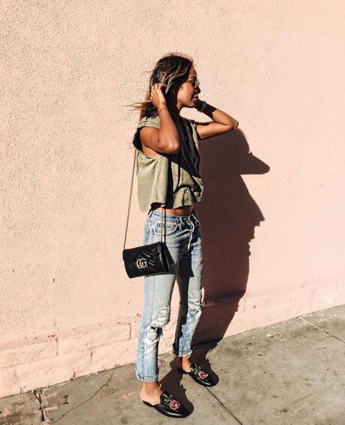 edee64bd9c5a green top tumblr gucci shoes gucci gucci princetown mules denim jeans  ripped jeans top bag black