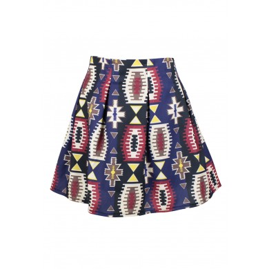Tribal Style Geometric Print Skirt