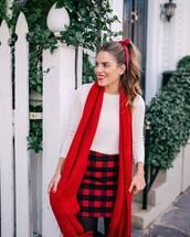 scarf,tumblr,red,christmas,holiday season,holiday outfit,skirt,mini skirt,red skirt,tartan skirt,tartan,plaid,top,white top,white sweater,sweater,hair bow,red lipstick,tights,opaque tights