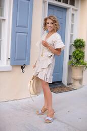 something delightful,blogger,dress,shoes,jewels,bag,jacket,wrap dress,round bag,spring outfits,sandals