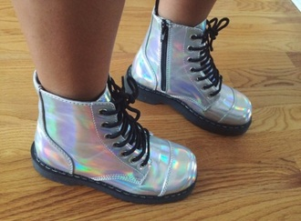 shoes holographic rainbow shiny combat boots boots