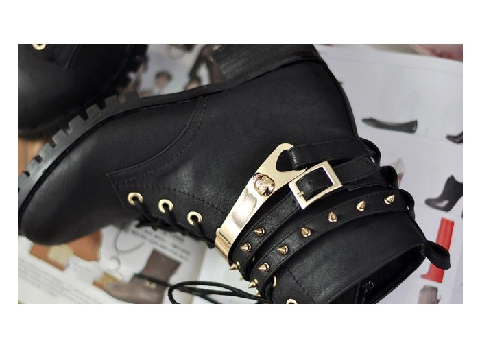 Wholesale Stylish Women's Black Studded Combat Boots With Lace-Up Design (BLACK,40), Boots - Rosewholesale.com