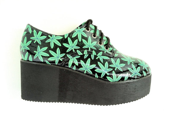 Glitter hemp leaf platform creepers by ridethenowave on etsy