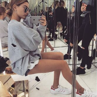 sweater distressed sweater sweatshirt instagram hailey baldwin sneakers shoes grey ripped adidas shoes low top sneakers white sneakers adidas