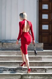 blogger,dress,shoes,bag,jewels,red dress,open back dresses,bodycon dress,pumps,high heel pumps,spring outfits
