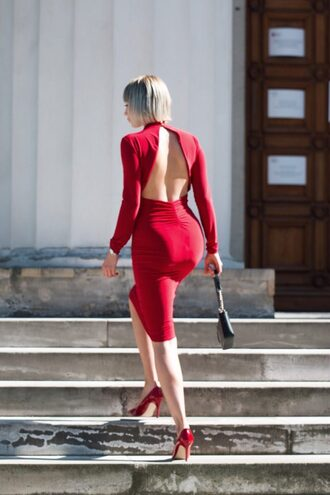 blogger dress shoes bag jewels red dress open back dresses bodycon dress pumps high heel pumps spring outfits