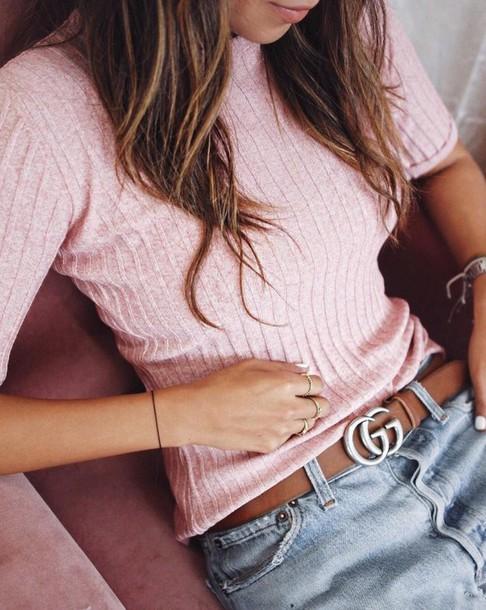 top tumblr pink top ribbed top gucci gucci belt logo belt denim jeans blue jeans ring