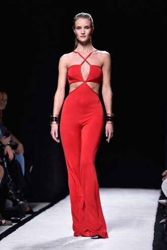 jumpsuit red fashion fashion week 2014 rosie huntington-whiteley